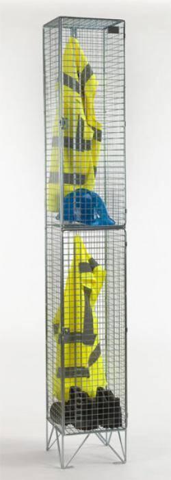 Wire Mesh Lockers - 2 Door 305mm Deep  Warehouse Ladder