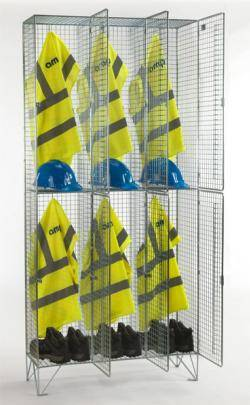 Wire Mesh Lockers - 2 Door 305mm Deep