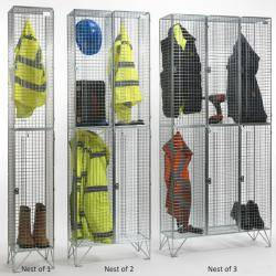 Wire Mesh Lockers - 2 Door 305mm Deep  Warehouse Ladder