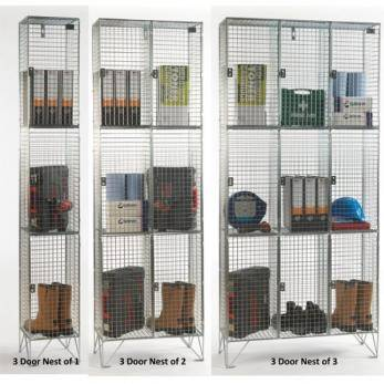 Wire Mesh Lockers - 3 Door 305mm Deep  Cage