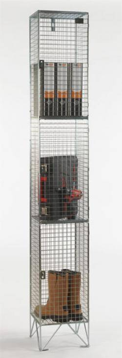 Wire Mesh Lockers - 3 Door 457mm Deep  Warehouse Ladder