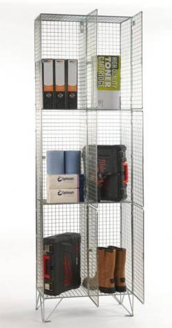 Wire Mesh Lockers - 3 Door 305mm Deep  Warehouse Ladder