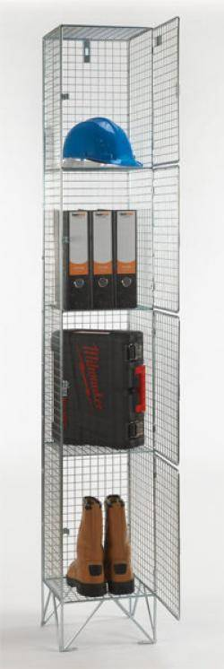 Wire Mesh Lockers - 4 Door 457mm Deep Warehouse Ladder