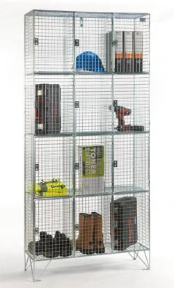 Wire Mesh Lockers - 4 Door 305mm Deep Warehouse Ladder
