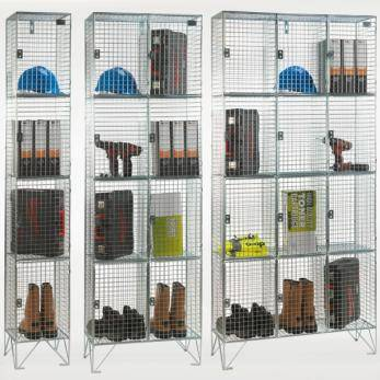 Wire Mesh Lockers - 4 Door 305mm Deep Cage