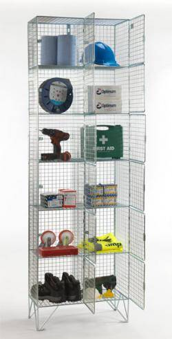 Wire Mesh Lockers - 6 Door 305mm Deep Warehouse Ladder