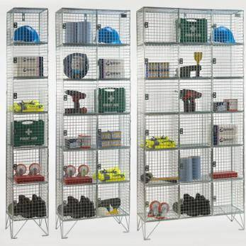 Wire Mesh Lockers - 6 Door 305mm Deep Cage